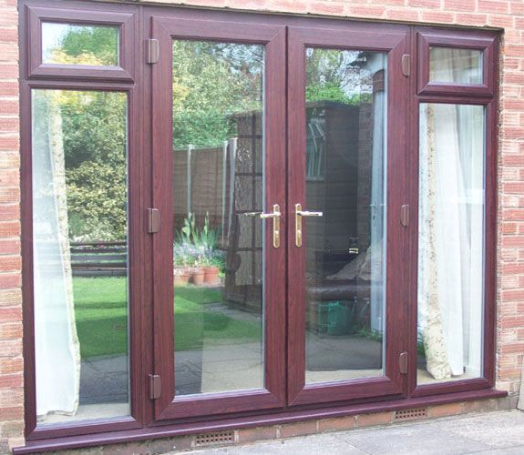 Rosewood French Doors With Side Lights And Opening Windows.