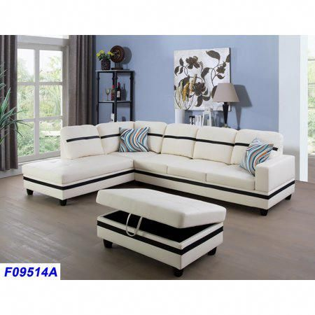 Amazing Wellington Faux Leather Sectional Sofa With Ottoman Black Machost Co Dining Chair Design Ideas Machostcouk