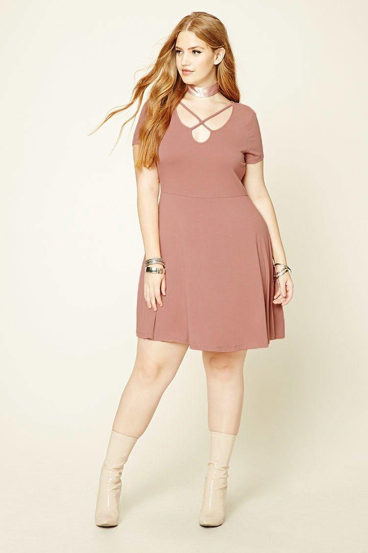 Plus size cutout skater dress dresses pinterest neckline