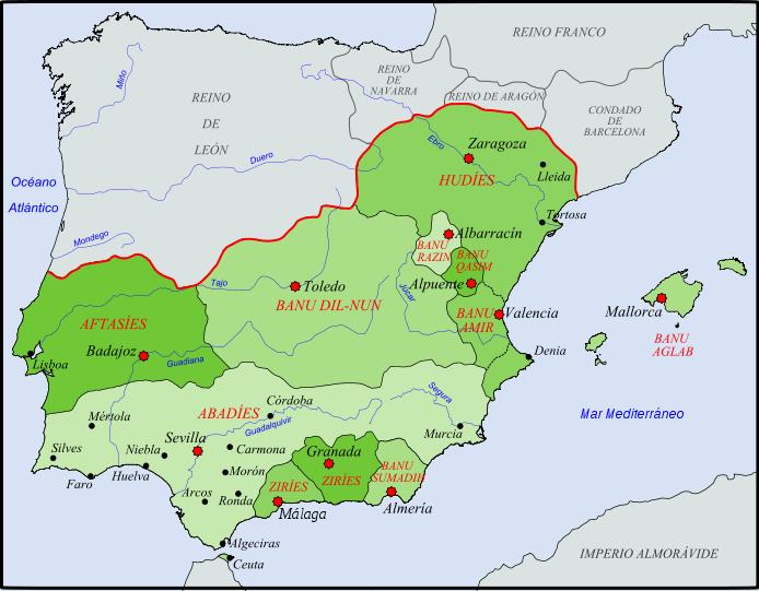 Carte Andalousie Histoire.Carte Du Regne Des Taifa En 1080 Histoire Islam Histoire