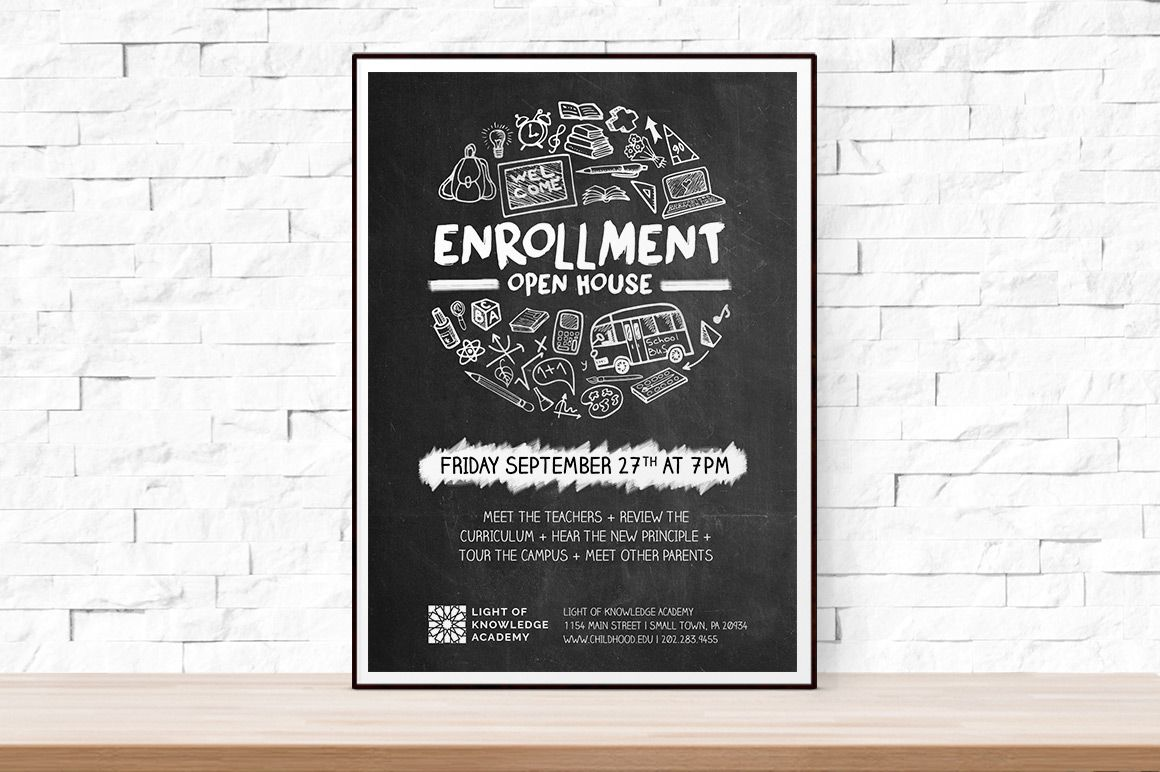 School Open House Flyer By Aleenahkhan On Creativemarket  Open