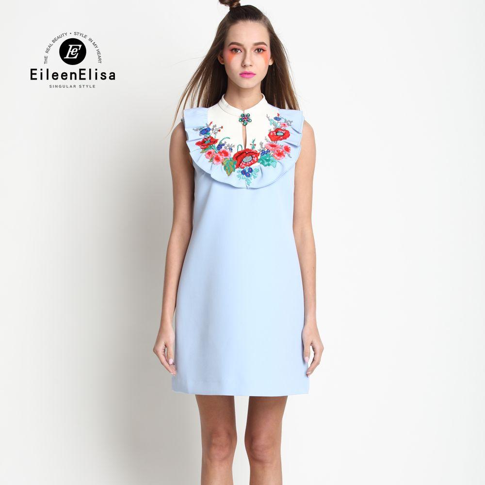 Elegance Runway Women Dresses Spring Summer Women Dress Vintage Blue Printed Dress