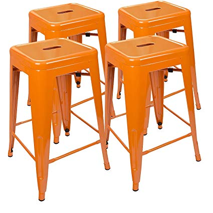 Amazon Com Urbanmod 24 Inch Bar Stools For Kitchen Counter Height Indoor Outdoor Metal Set Of 4 O Bar Stools 24 Inch Bar Stools Vintage Bar Stools