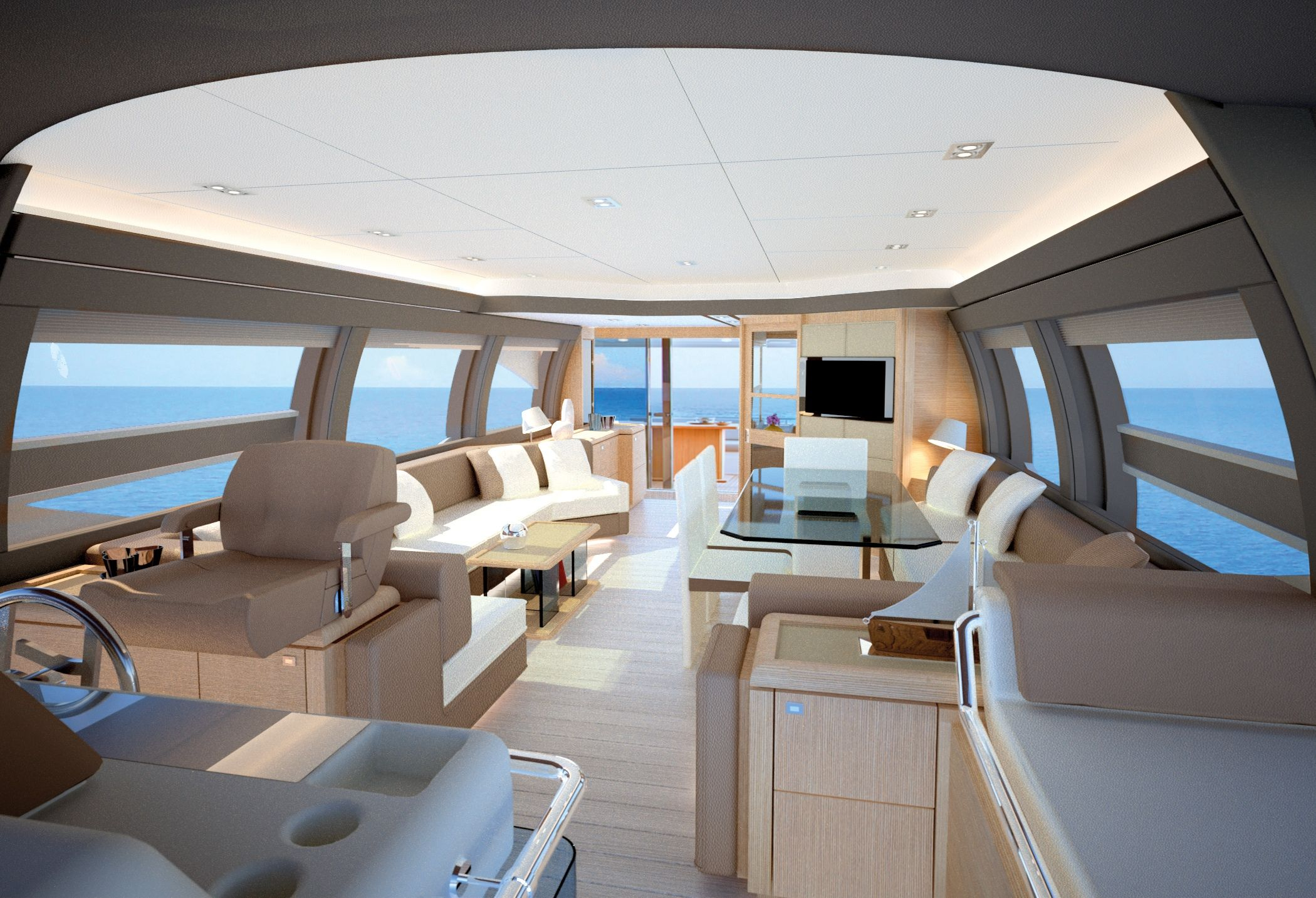Interiors of luxury yachts ferretti 690 motor yacht for Innenraum designer programm
