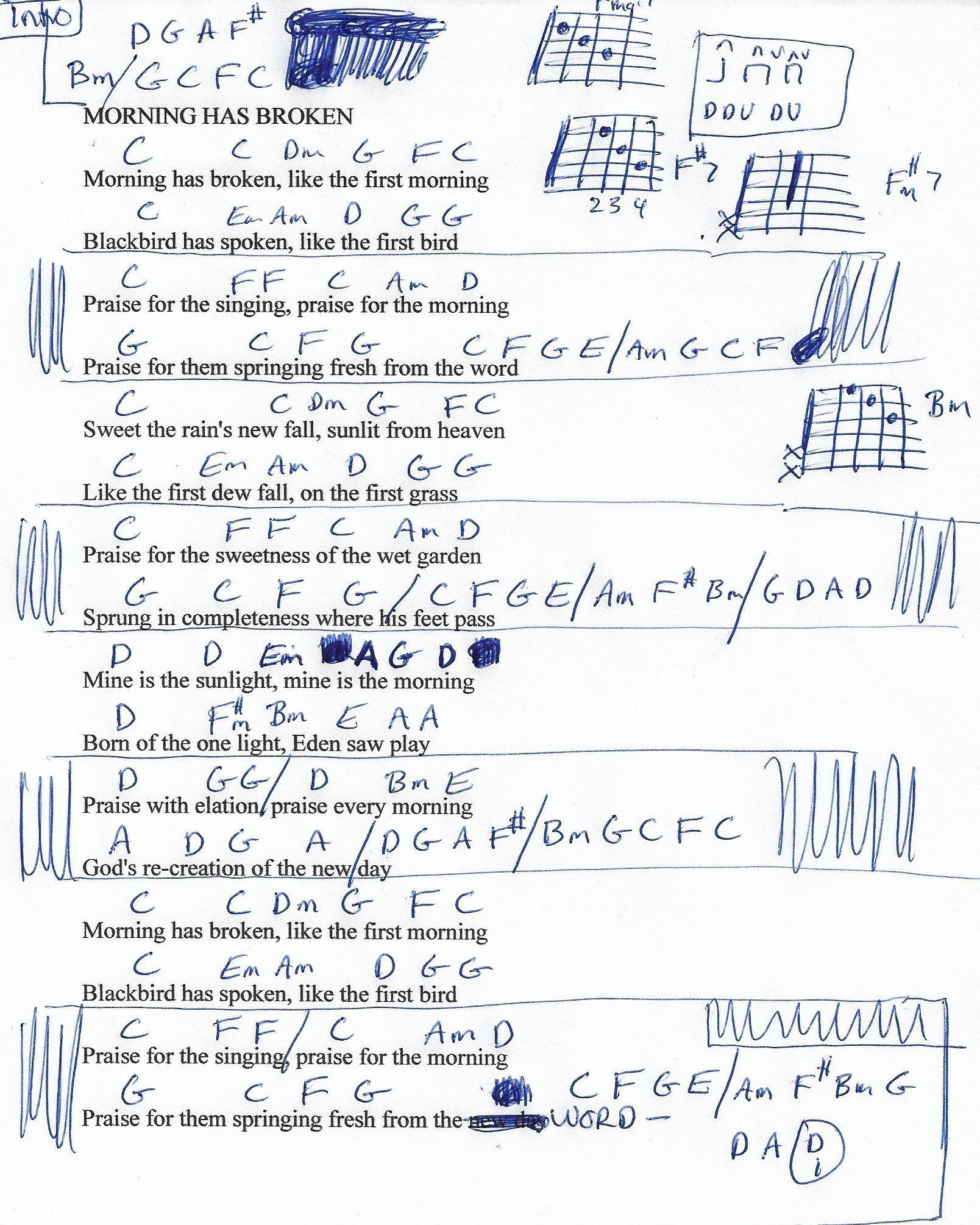 Morning Has Broken Cat Stevens Guitar Chord Chart Fine Accoustic