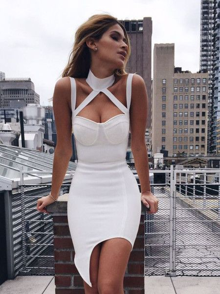 Jessa White Choker Detail Asymmetric Hem Bandage Dress  717635764