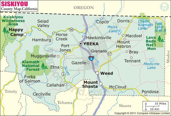 Siskiyou County Map Mount Shasta And Nearby Towns Pinterest