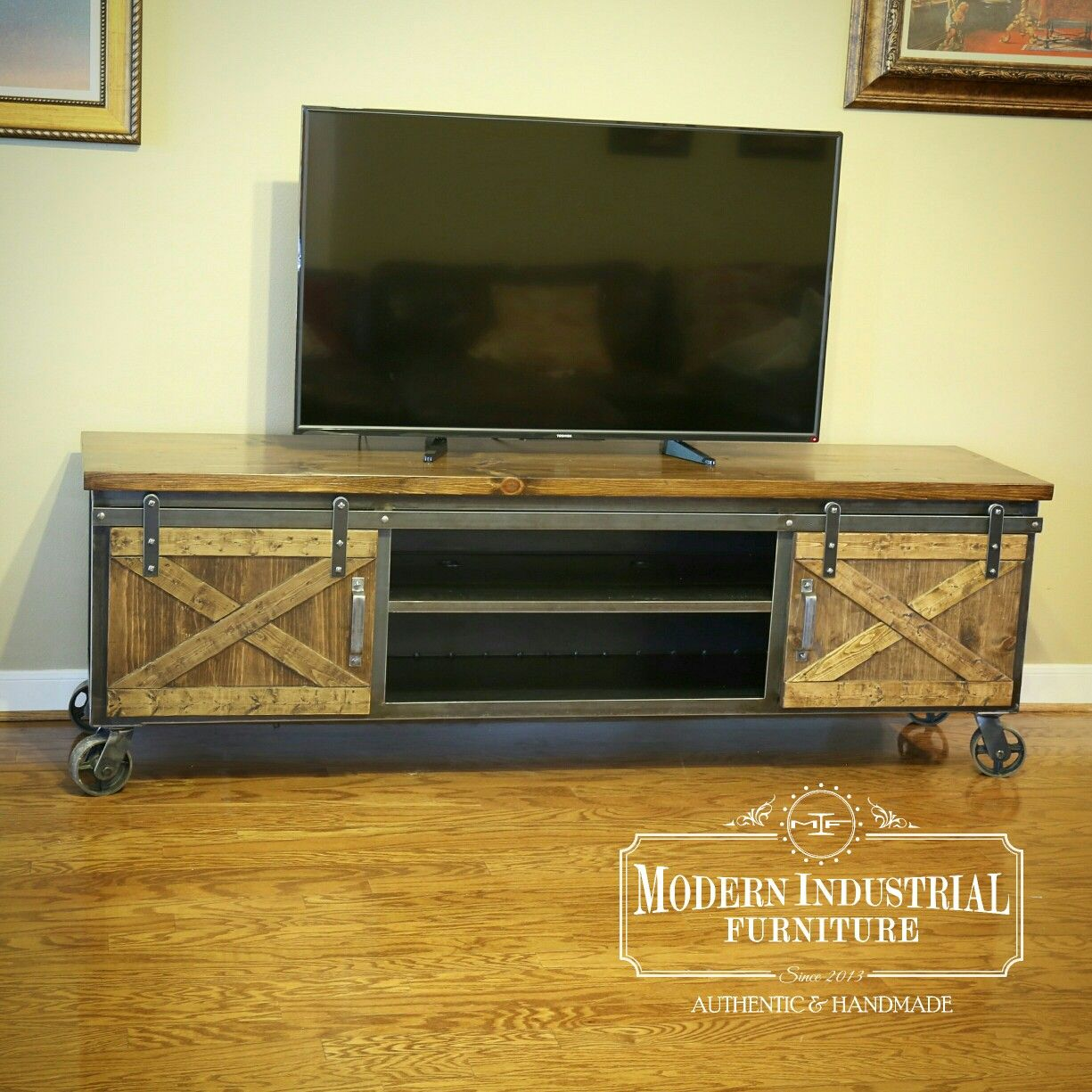 Steel Tv Stand Cabinet With Wooden Barn Door Style Doors Wooden Tv Stands Tv Stand Designs Wall Mounted Tv