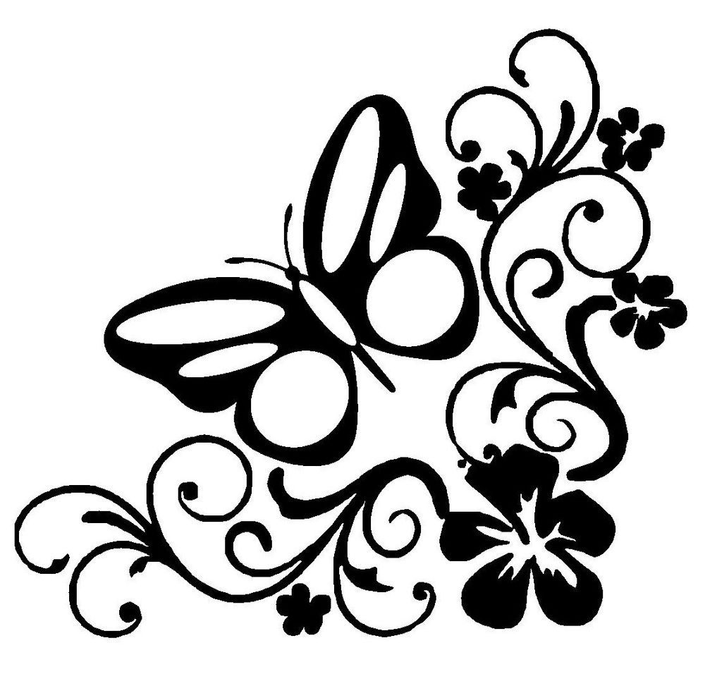 2x Art Flower Butterfly Vinyl Sticker Novelty Label Euro Jdm Car Window Bumper 6 Butterfly Decal Floral Signs Car Decals Vinyl [ 956 x 1000 Pixel ]