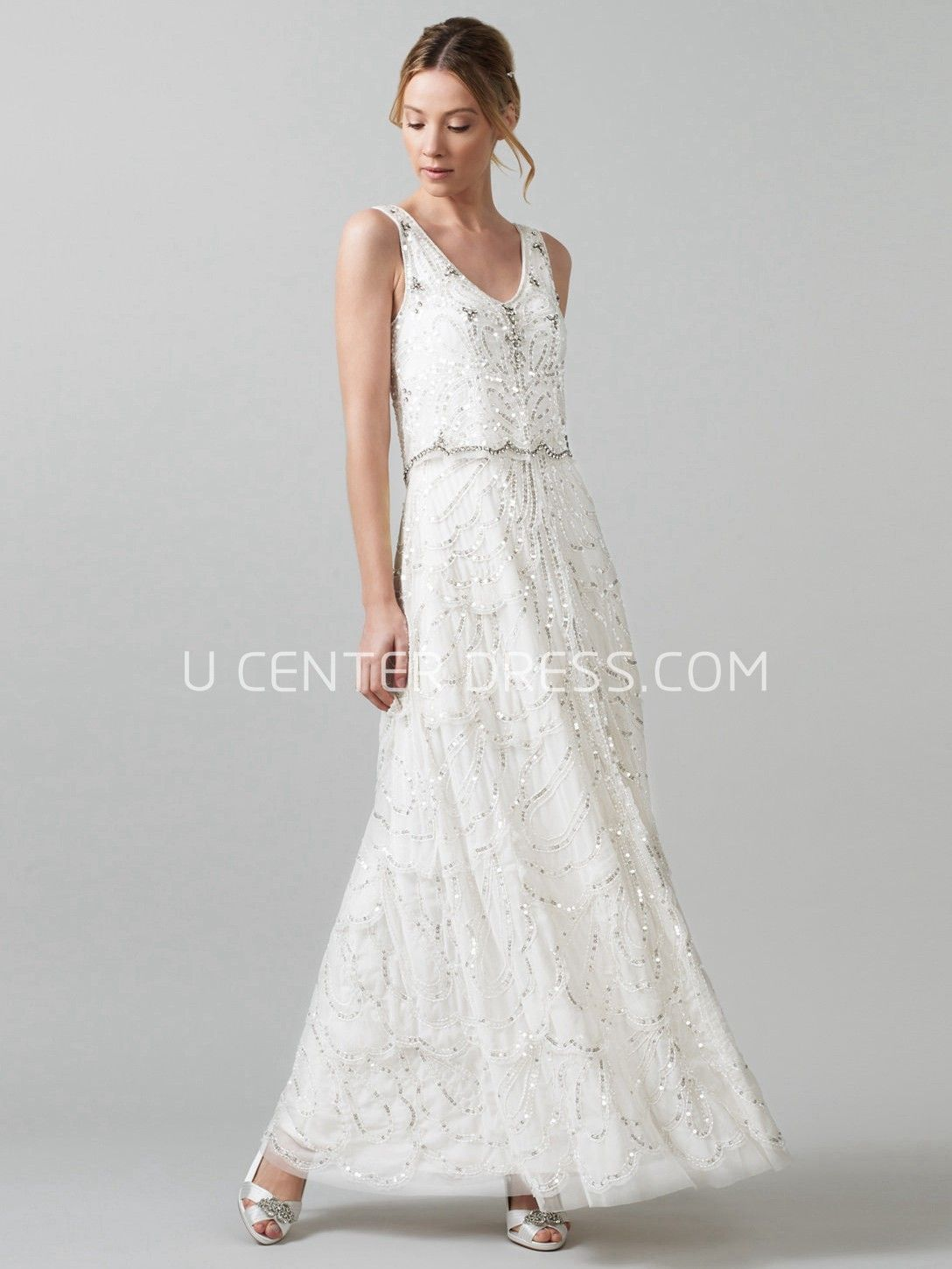 wedding dress under $ Sheath V Neck Long Sleeveless Tulle Wedding Dress With Sequins And V Back