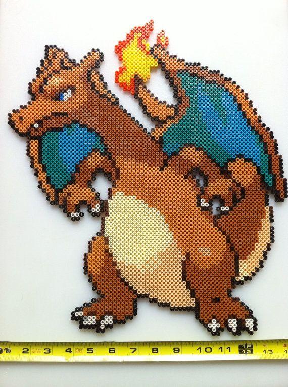 sandylandya@outlook.es  Large Charizard Pokemon Perler Bead Sprite Wall Art by SDKD