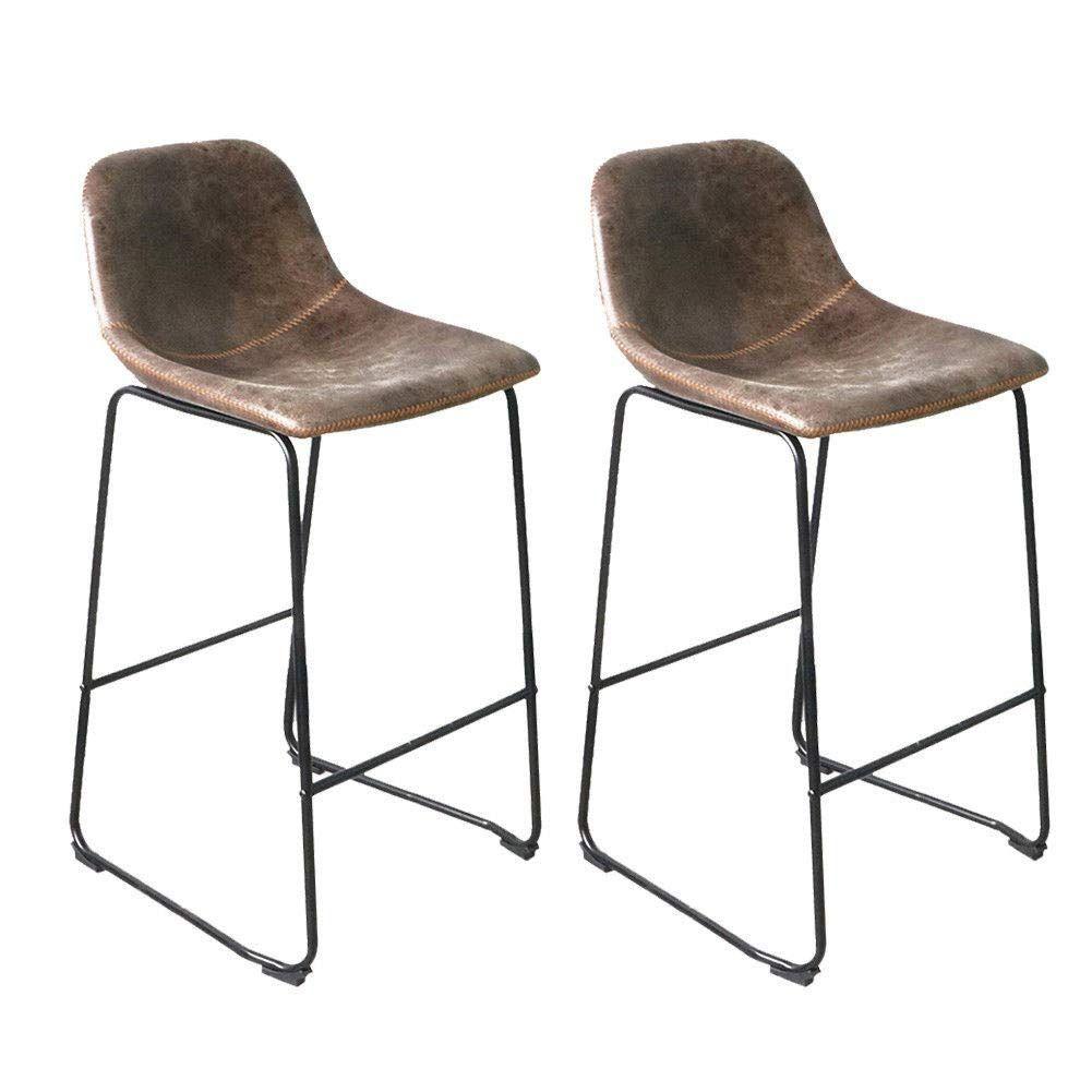 Admirable Unho Bar Stools Set Of 2 Rustic Vintage Retro Metal Leather Ibusinesslaw Wood Chair Design Ideas Ibusinesslaworg