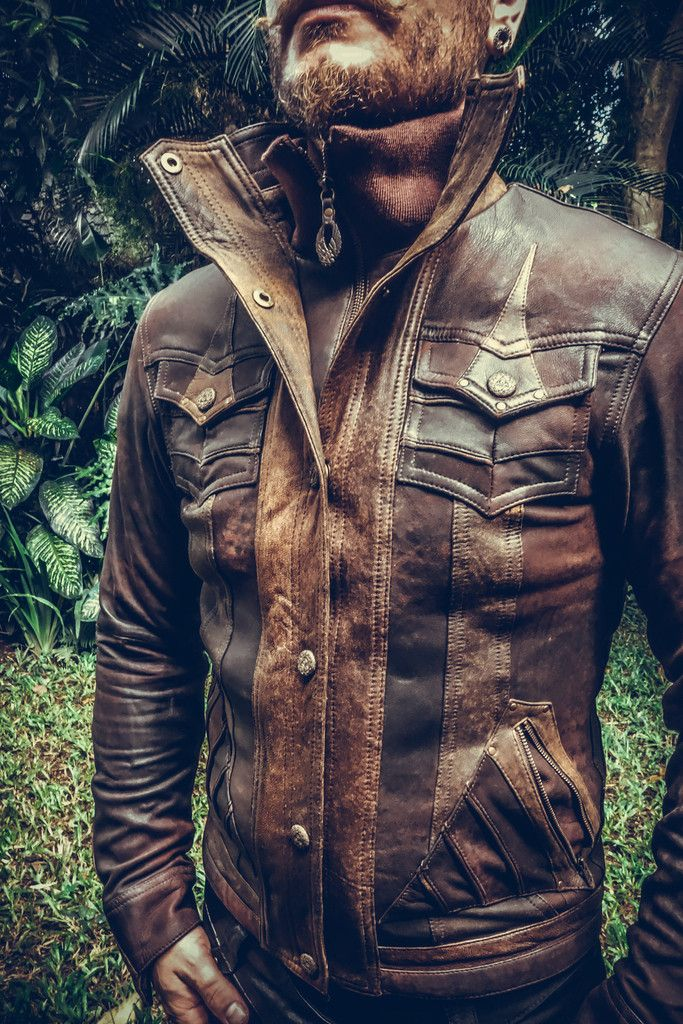 Ourall new Alloy jacket is made from only the finest leather, intricately paneled and detailed with our signature hand-carved Anahata button snaps. Features a