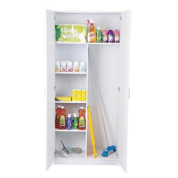 Broom Cupboard 2 Door With 4 Tier Shelving 1 Side 1 Top Shelf Furnishings Cheap As Chips Shelves Shelving Cupboard
