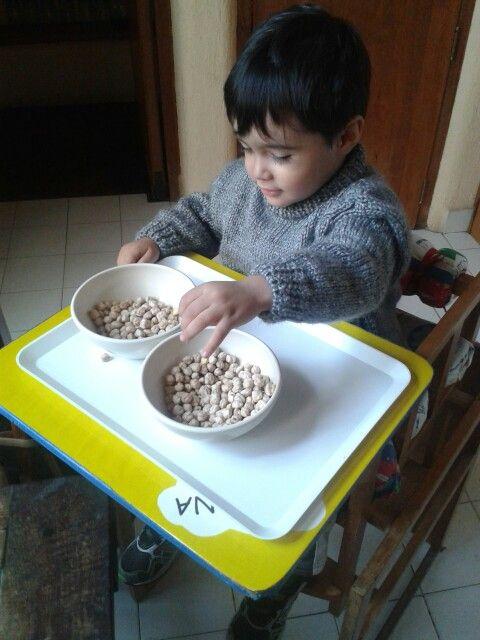 Con las manos, pasando semillas de un plato al otro !!!