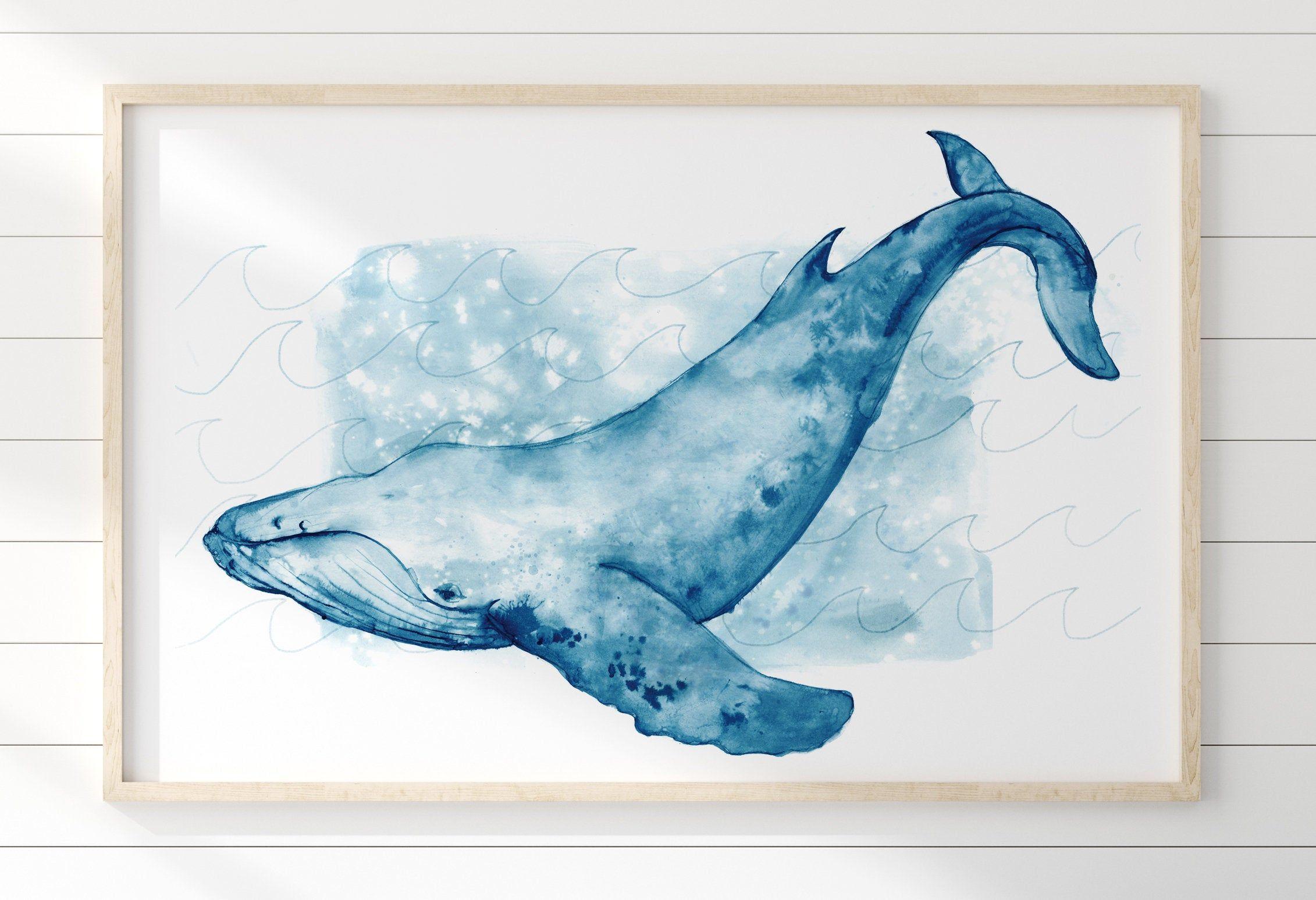 Blue Whale Watercolour  Print Canvas Premium Wall Decor Poster