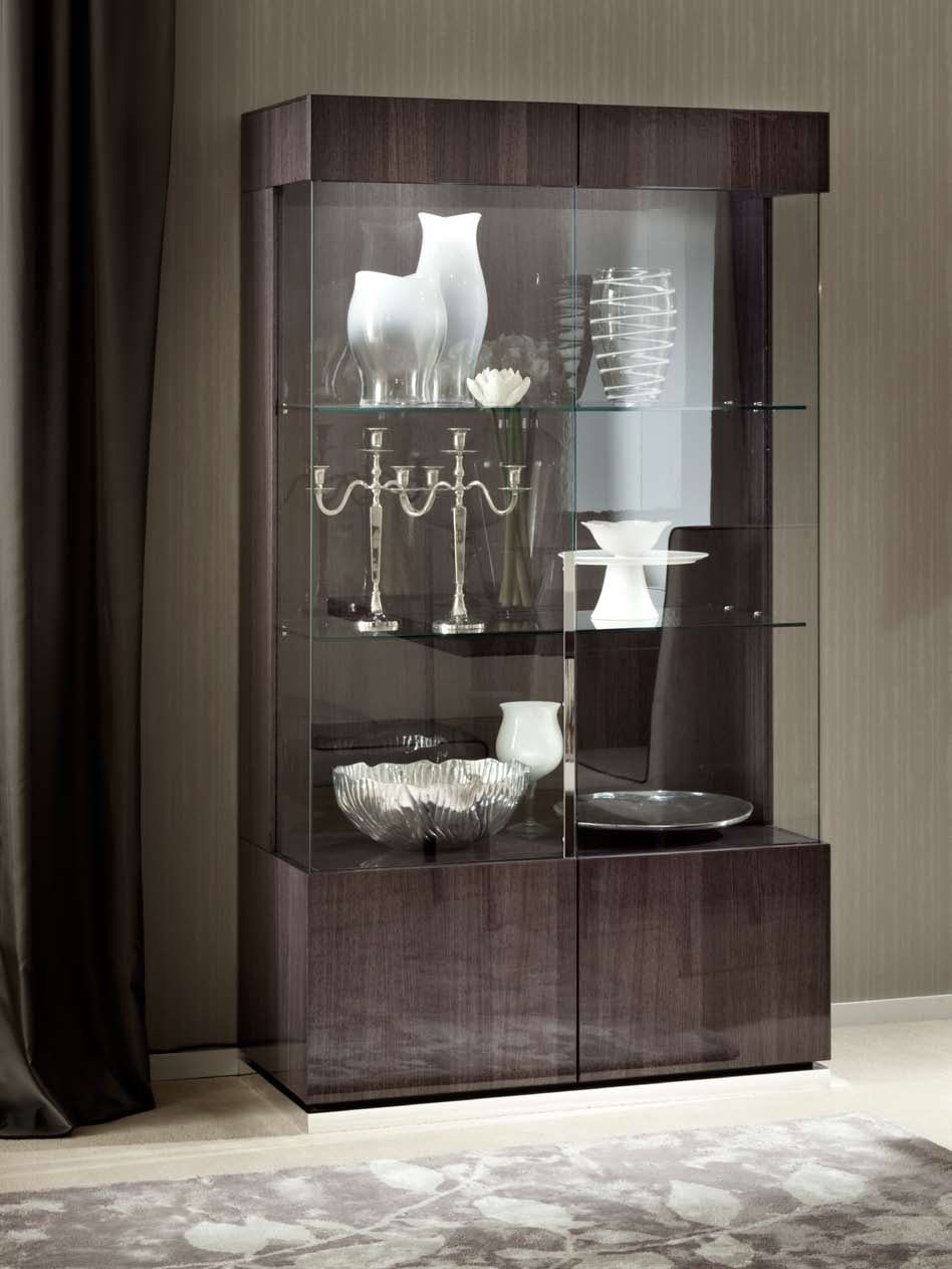 The Mondiana Curio Cabinet Is Expertly Crafted In A Unique Gray Koto Veneer With Protective High Gloss Finish 2 Doors And LED Lighting
