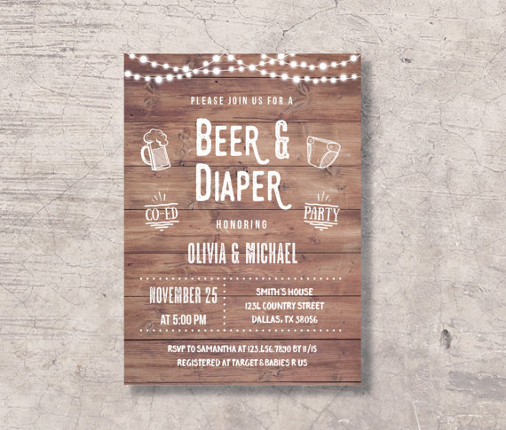 Beer and Diaper Party Invitation Printable rustic beer diaper baby