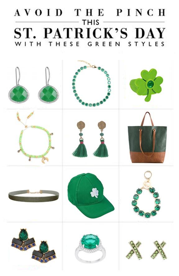 You must wear green or Saint Patrick's Day or you run this risk of getting pinched! Here are some of our favorite green accessories you can incorporate into your wardrobe even after the holidays are over! #saintpatricksday #ootd #accessories #green #style #fashion #jewelry #shamrock #earrings #rings #bracelet #necklaces #choker