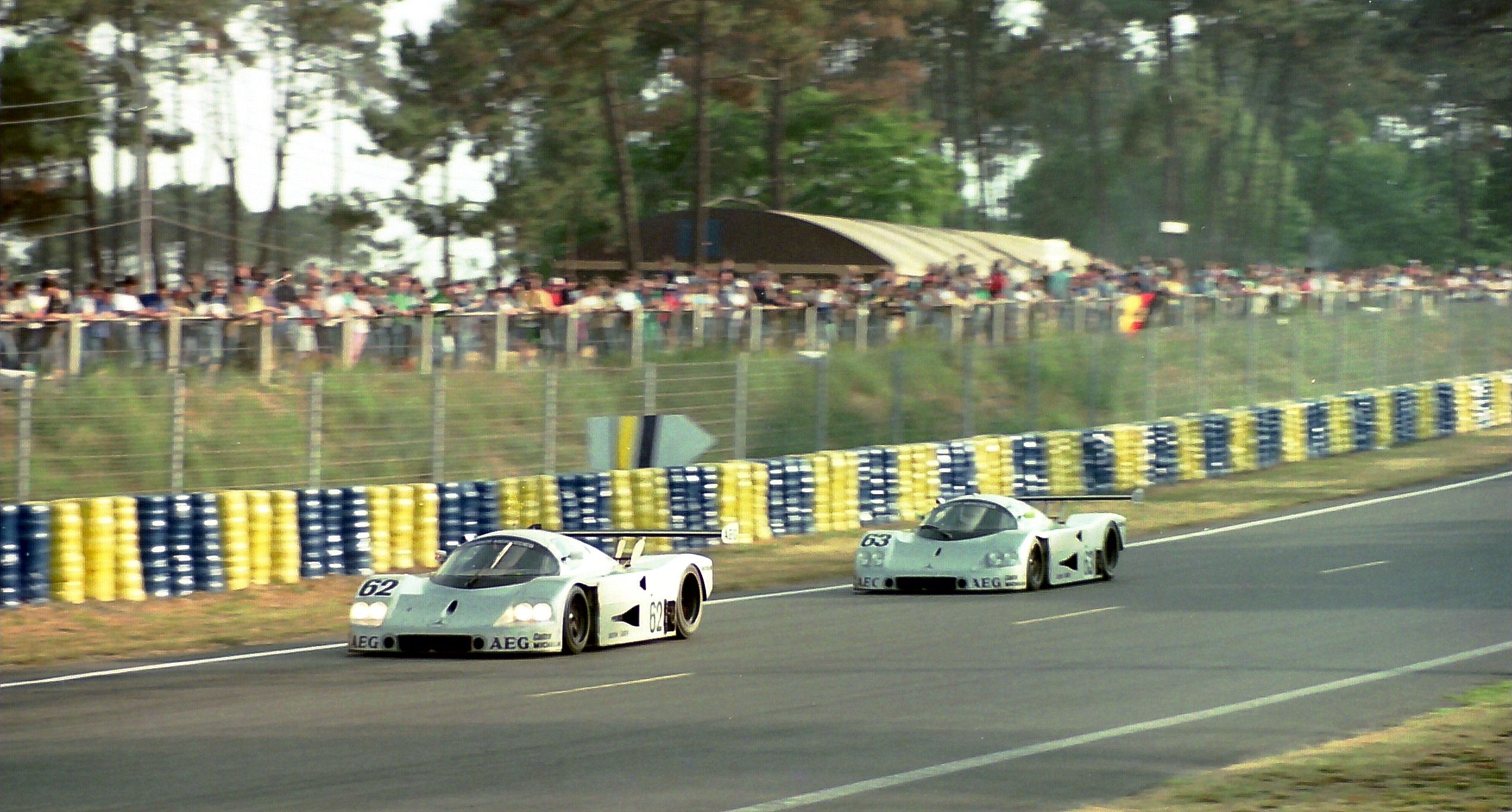 The winning Sauber C9-88 - Jochen Mass, Manuel Reuter & Stanley Dickens follows team-mates - Jean-Louis Schlesser, Jean-Pierre Jabouille & Alain Cudini at the 1989 Le Mans  / Copy. Martin LEE-Flickr