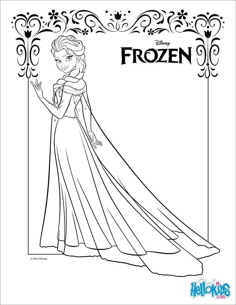 Coloring Page About Frozen Disney Movie Beautiful Drawing Of Elsa In A Dress Sheet For Lover