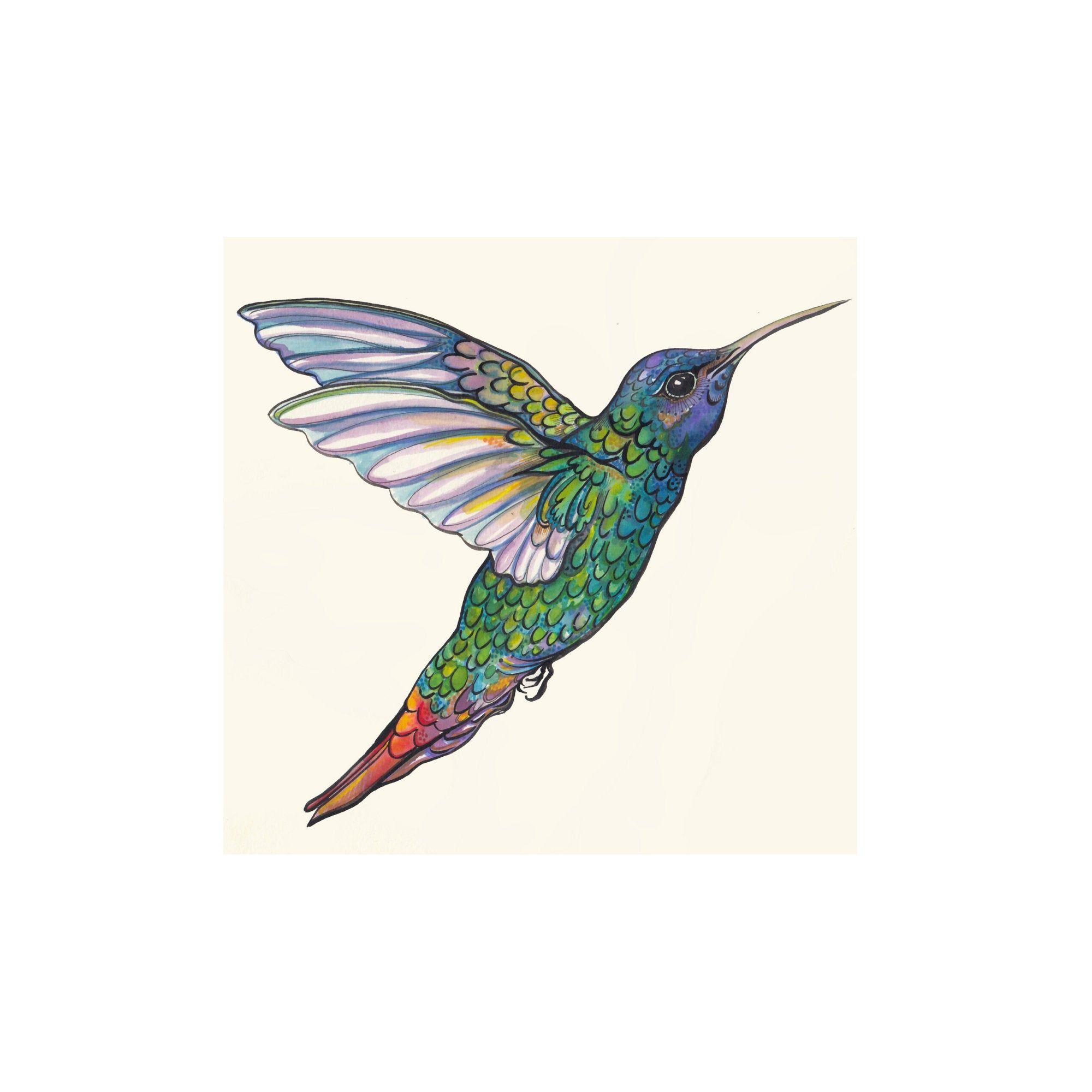 Hummingbird Digital Art Print, Free Shipping, A4