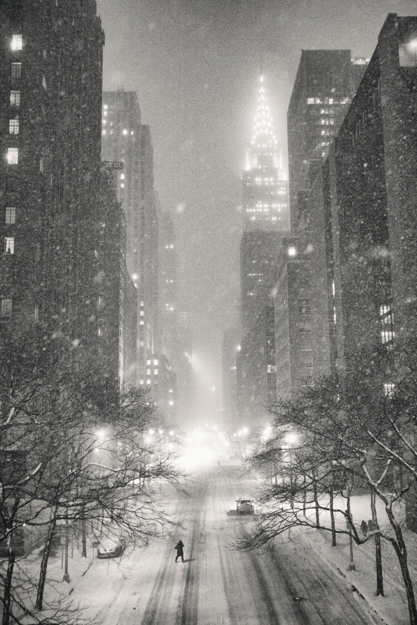 New York City On A Winter Night In The Snow Overlooking The