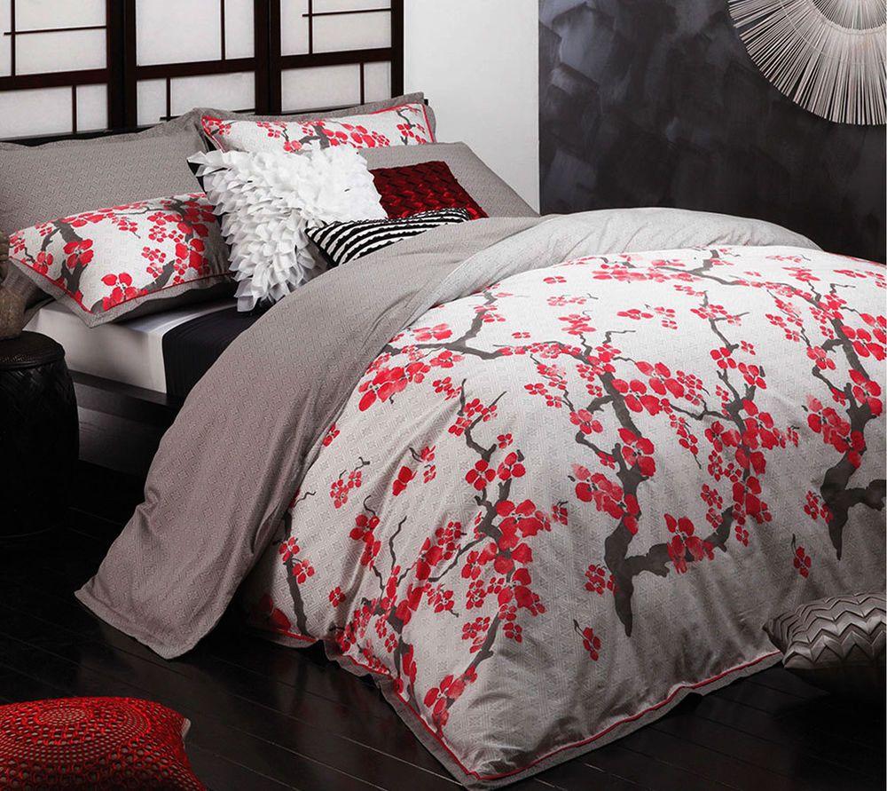Sakura Silver Blossom Anese Oriental Queen Size Quilt Cover Set Logan Mason