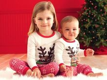 25958fa61491 Christmas Xmas Pajamas Santa outfits Boy girl Cartoon Tracksuit suit ...
