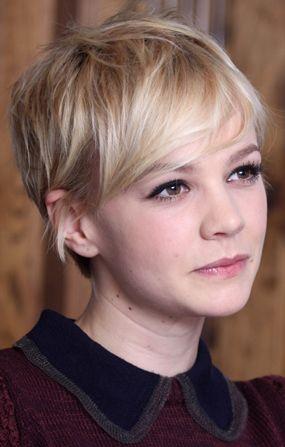 Pixie Cut Carey Mulligan Blond Swipy Fringe Short Hair Pinterest