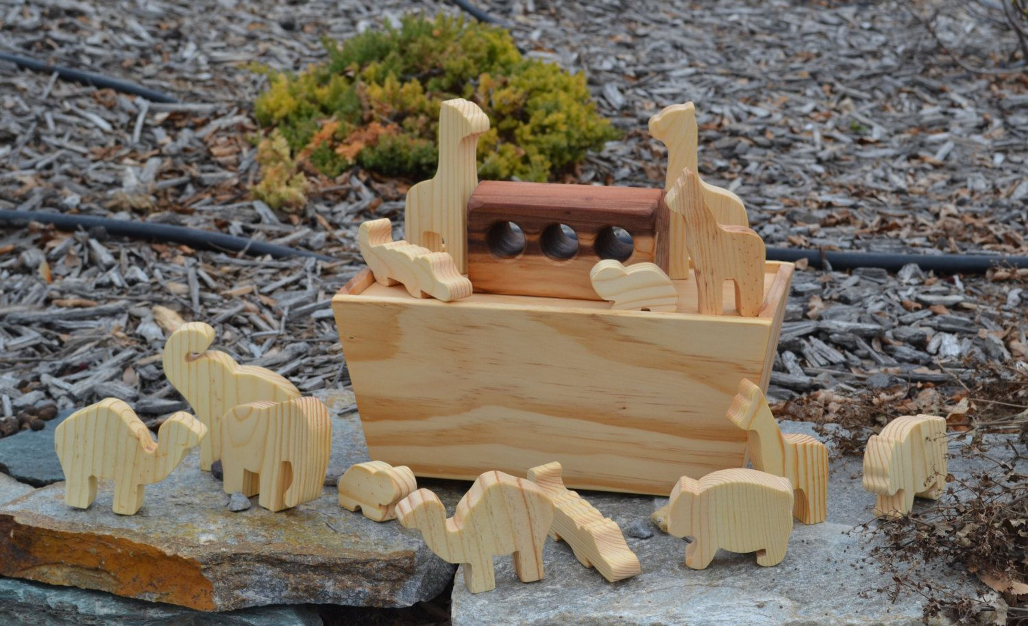 Noah's+Ark+with+7+sets+of+Animals+Redwood+and+by+WoodenGiraffeToys,+$48.00