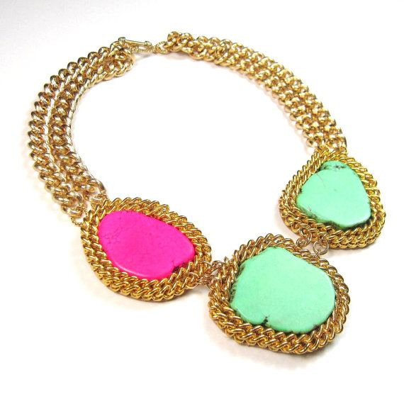Statement necklace colorblock turquoise pink and by EzzaExclusive
