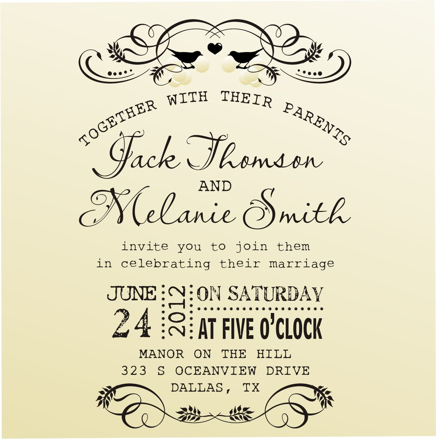 DIY Wedding Invitation Vintage Design Typewriter Font Rubber Stamp Clear  Block Mounted  Style 6020INVITATION