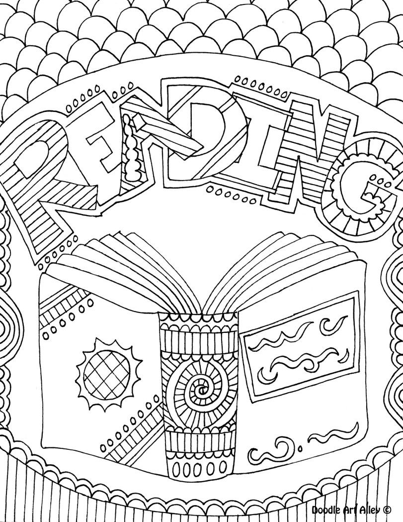 Coloring Book Album Meaning : Reading coloring sheet. Could be a folder/binder cover. Library Lessons Pinterest Doodles ...