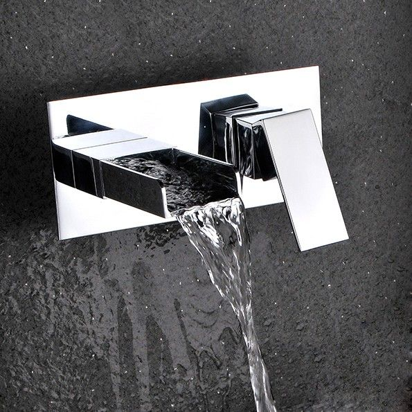 Mero Contemporary Waterfall Wall Mount Bathroom Sink Faucet in ...