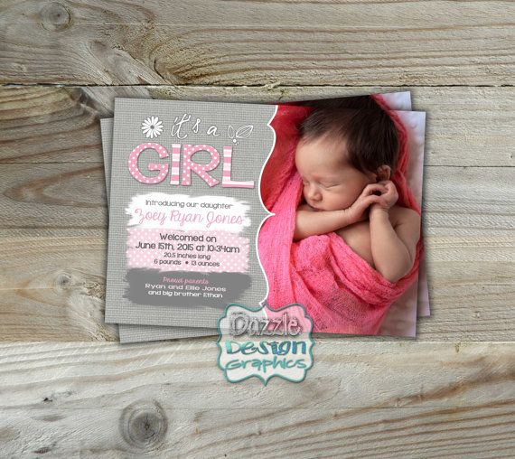 It's a Girl  Baby Birth Announcement  by DazzleDesignGraphics