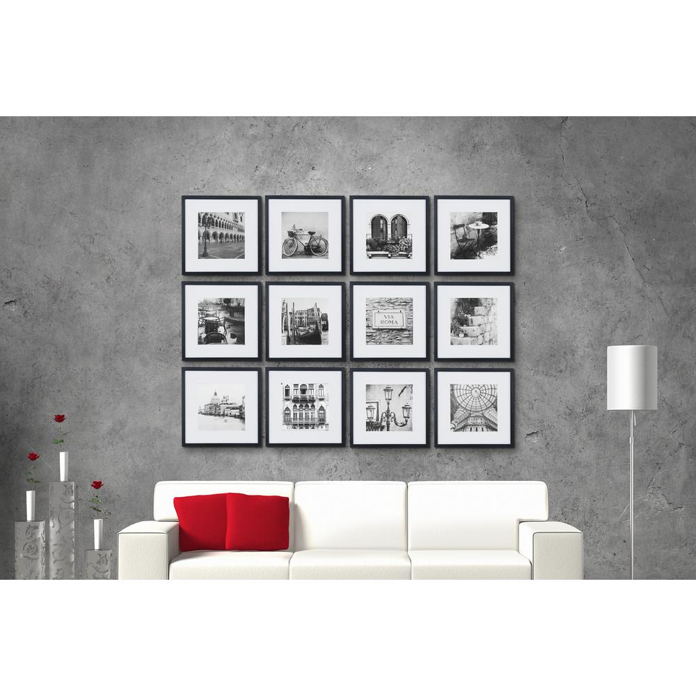 Pinnacle Gallery Perfect 8 In X 8 In Black Collage Picture Frame Set 16fw2233 The Home Depot Gallery Wall Kit Picture Frame Wall Gallery Wall Picture Frames