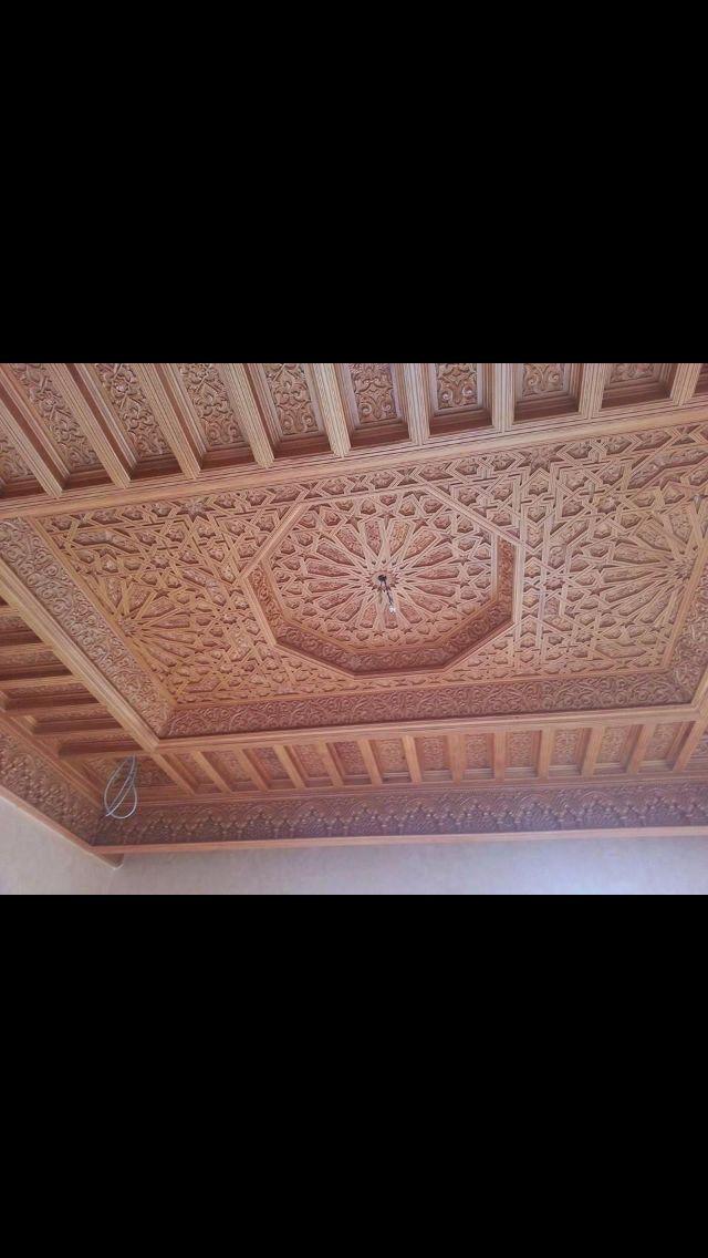 سقف خشب مغربي Plafond Design Ceiling Design Moroccan Decor
