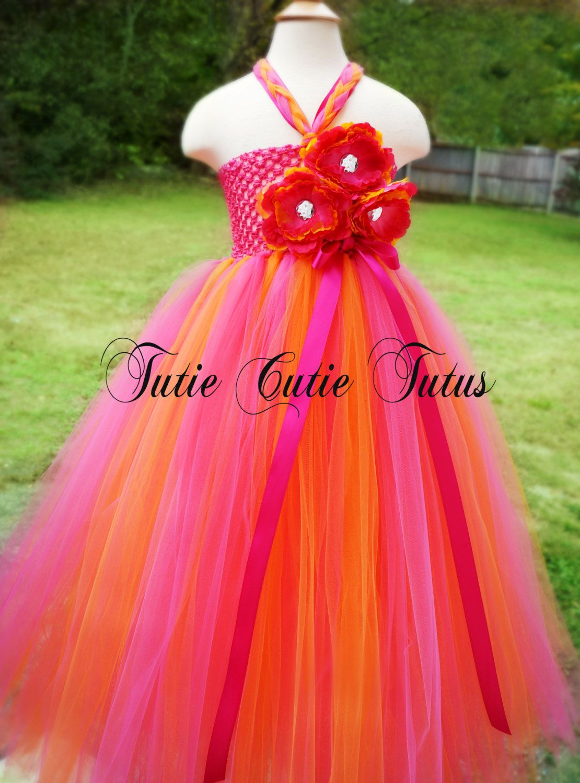 Hot pink and orange dress  Tangerine and Hot Pink Flower Girl Tutu Dress NB  Hot pink