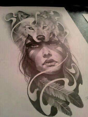 indian woman face with wolf tattoo design mike pinterest wolf tattoo design wolf. Black Bedroom Furniture Sets. Home Design Ideas