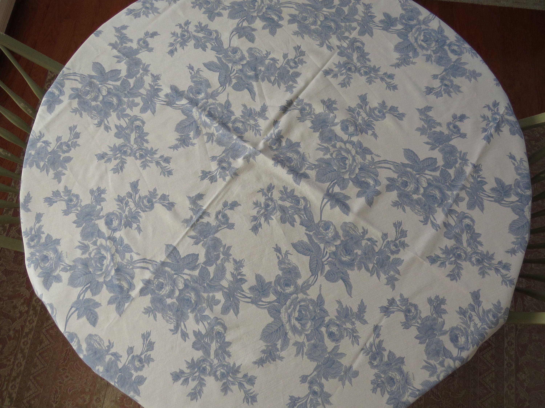 Cornflower Blue Round Tablecloth Blue Roses On Ecru Blue