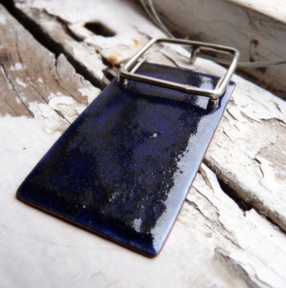 Blue enamel Necklace, Blue Shadows Necklace, Sterling silver and copper, Rectangular