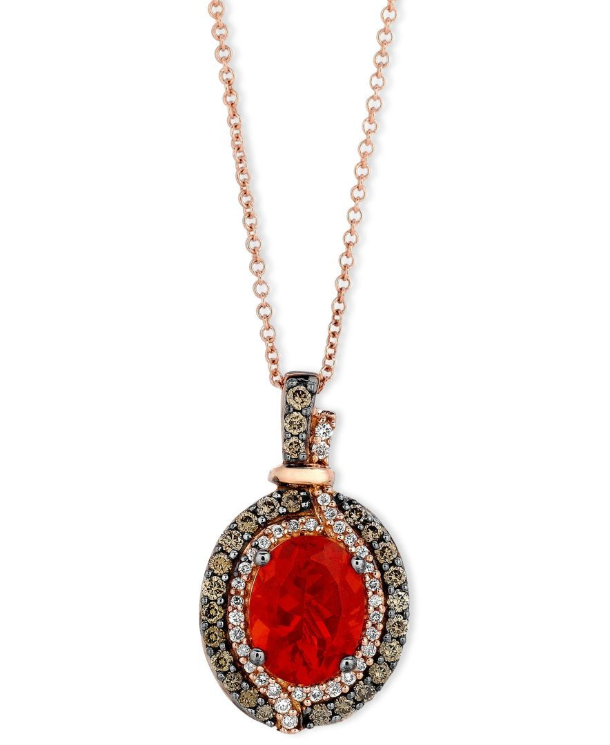 Le Vian Fire Opal (9/10 ct. Chocolate (1/3 ct. t.w.) and White Diamond (1/8 ct. t.w.) Pendant in 14k Rose Gold