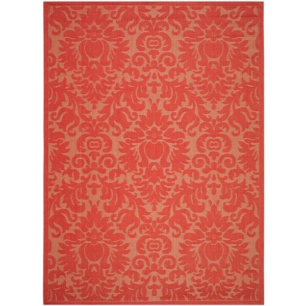 Safavieh Courtyard Red/ Red Indoor Outdoor Rug ($224) ❤ liked on Polyvore featuring home, rugs, red, non skid rugs, indoor outdoor area rugs, safavieh rugs, safavieh area rugs and red outdoor rug