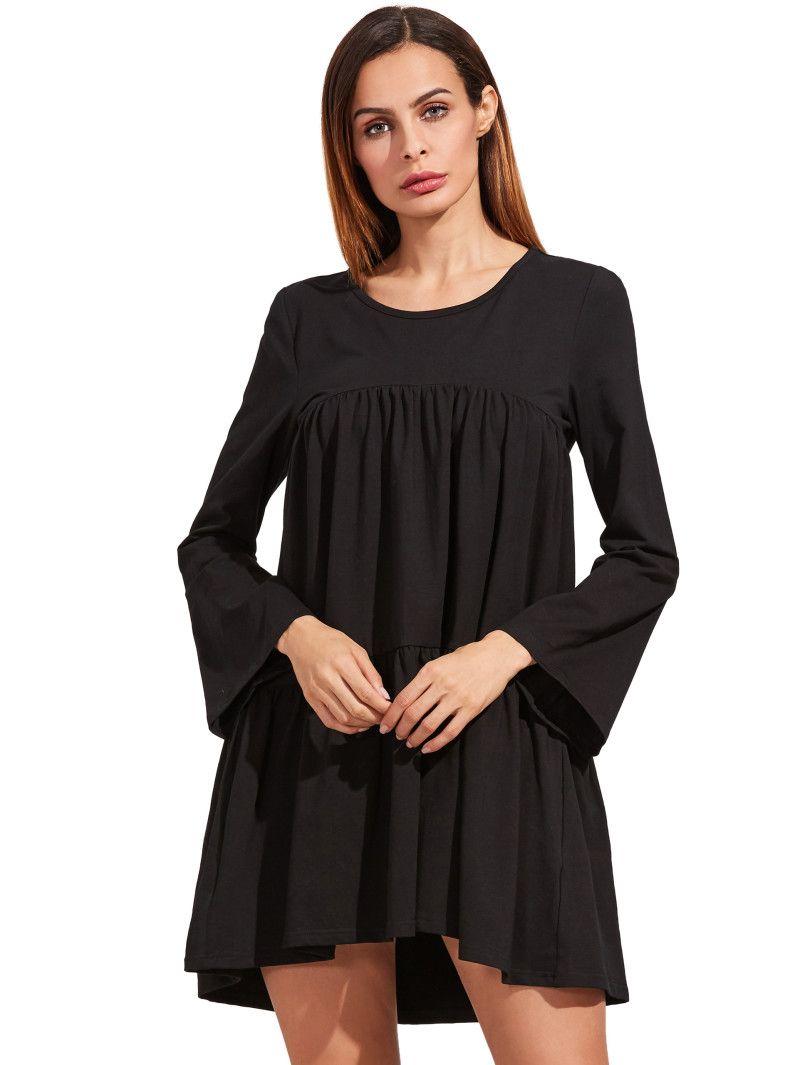 Black long sleeve ruffle dress vestimenta casual pinterest