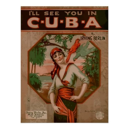 See you in Cuba, retro sheet music cover Print