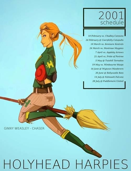 After Hogwarts Ginny Became A Quidditch Player For The Holyhead Harpies An All Female Quidditch Team Harry Potter Characters Harry Potter Books Ginny Weasley