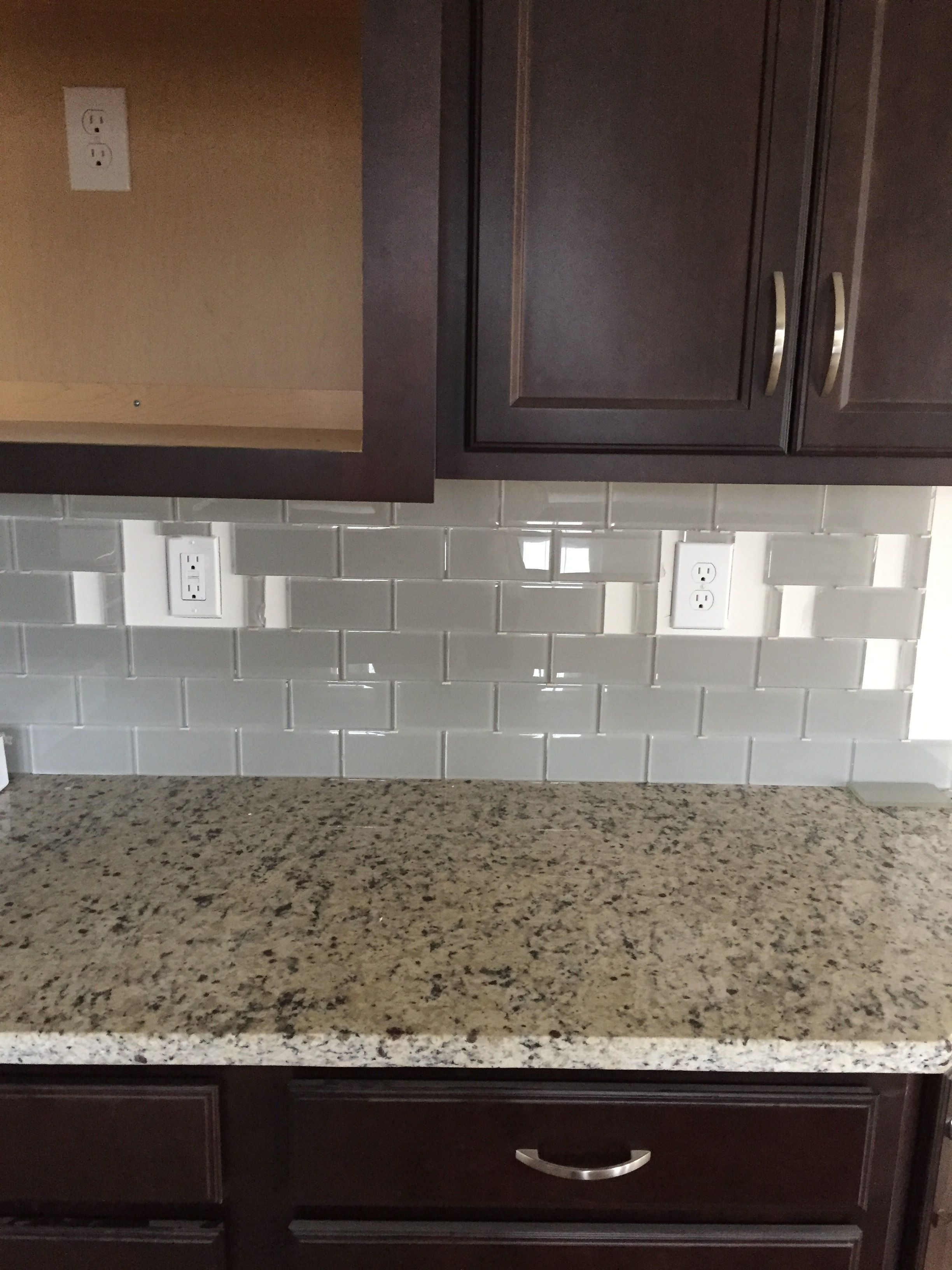 Kitchen Tiles Granite Espresso Cabinets And Crema Pearl Granite And Off White