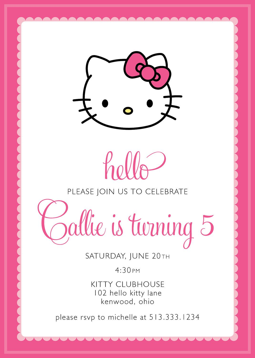 Hello Kitty Party Invitation Http Www Etsy Com Listing 96207667 Hello Kitty Part Hello Kitty Invitations Hello Kitty Party Hello Kitty Birthday Invitations