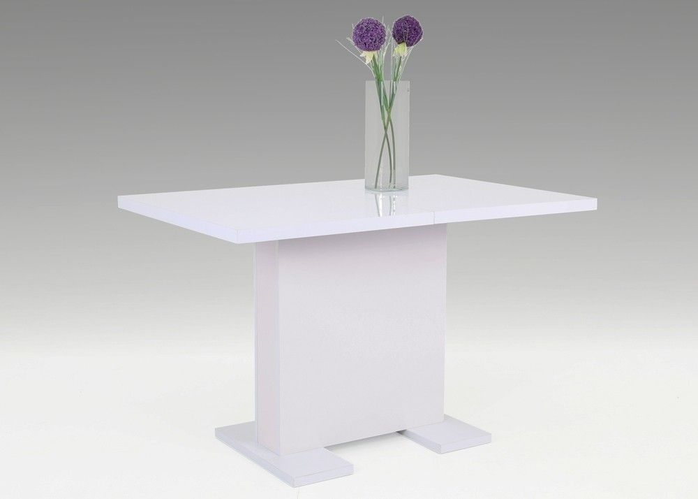 Säulentisch ausziehbar Julia 120x80 Esstisch Weiß Lack glänzend - wohnzimmertisch höhenverstellbar und ausziehbar